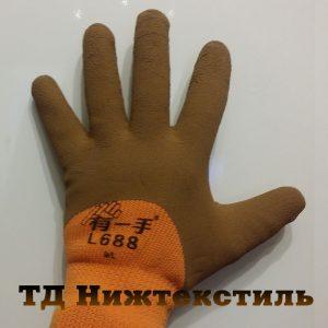 Перчатки акриловые утепленные с покрытием каучук Люкс
