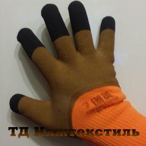 Перчатки акриловые утепленные с покрытием каучук с усилением на пальцах Супер Люкс