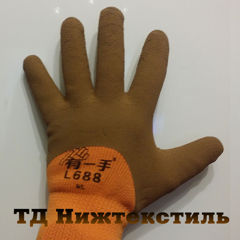 Акция и скидка на Перчатки акриловые утепленные с покрытием каучук с усилением на пальцах Супер Люкс ₽70.00